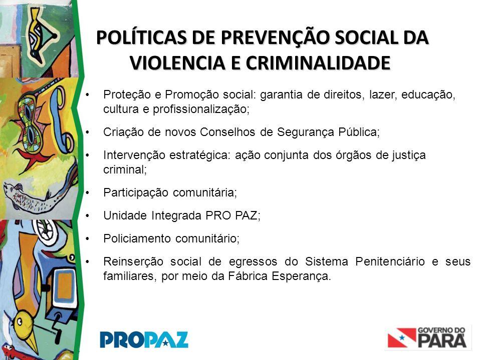 POLÍTICAS DE PREVENÇÃO SOCIAL DA VIOLENCIA E CRIMINALIDADE