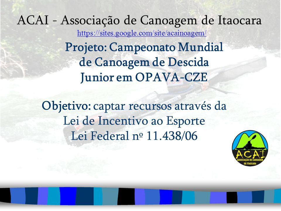 Projeto: Campeonato Mundial de Canoagem de Descida Junior em OPAVA-CZE