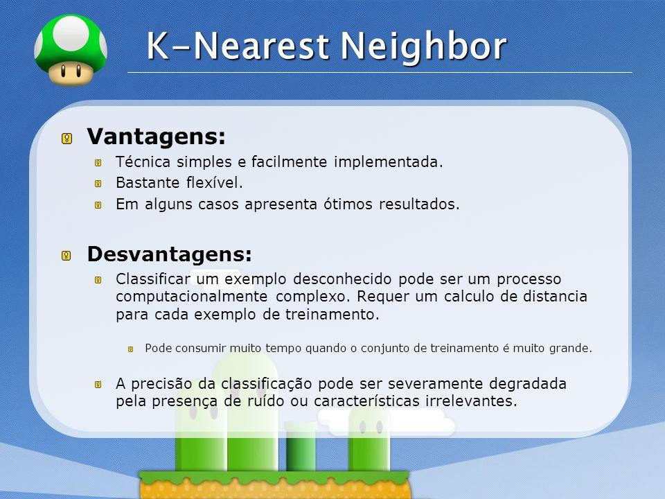K-Nearest Neighbor Vantagens: Desvantagens: