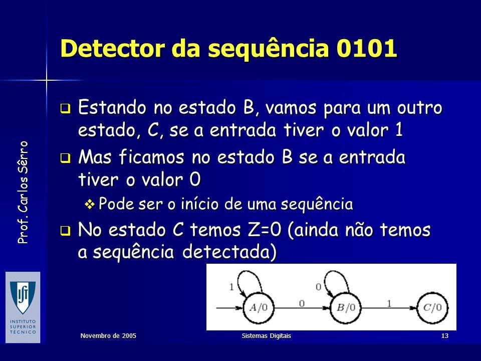 Detector da sequência 0101 Estando no estado B, vamos para um outro estado, C, se a entrada tiver o valor 1.