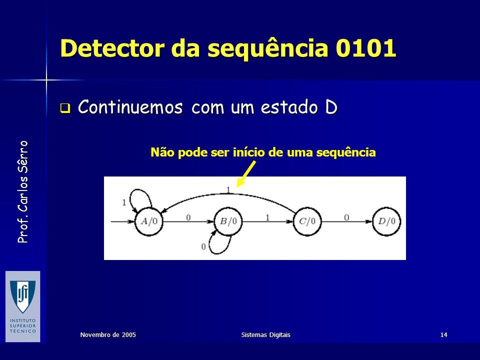 Detector da sequência 0101 Continuemos com um estado D
