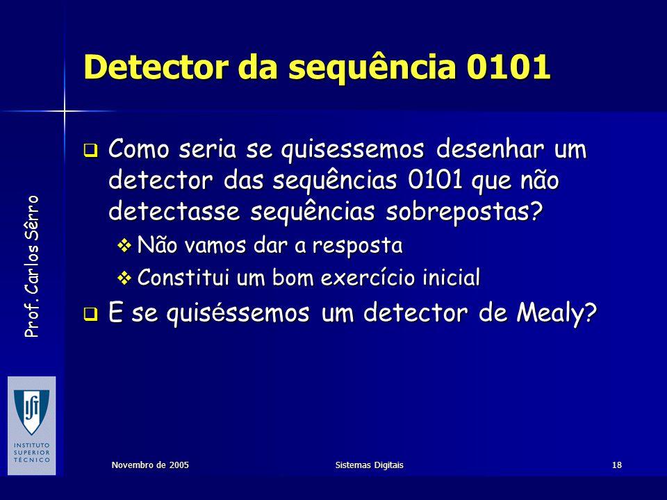 Detector da sequência 0101 Como seria se quisessemos desenhar um detector das sequências 0101 que não detectasse sequências sobrepostas