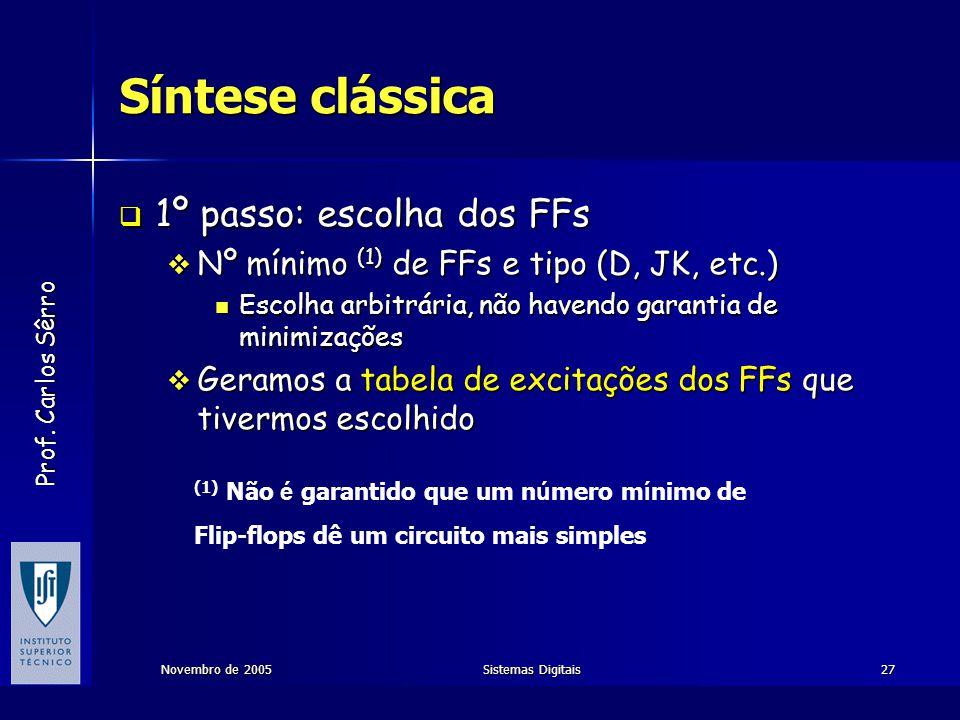 Síntese clássica 1º passo: escolha dos FFs
