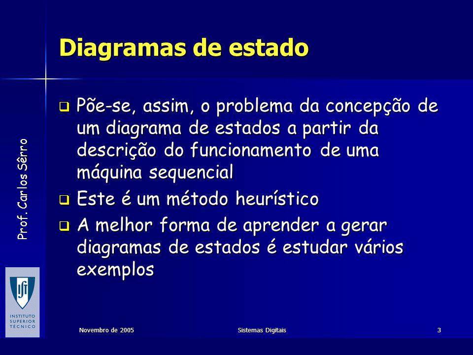 Diagramas de estado Põe-se, assim, o problema da concepção de um diagrama de estados a partir da descrição do funcionamento de uma máquina sequencial.