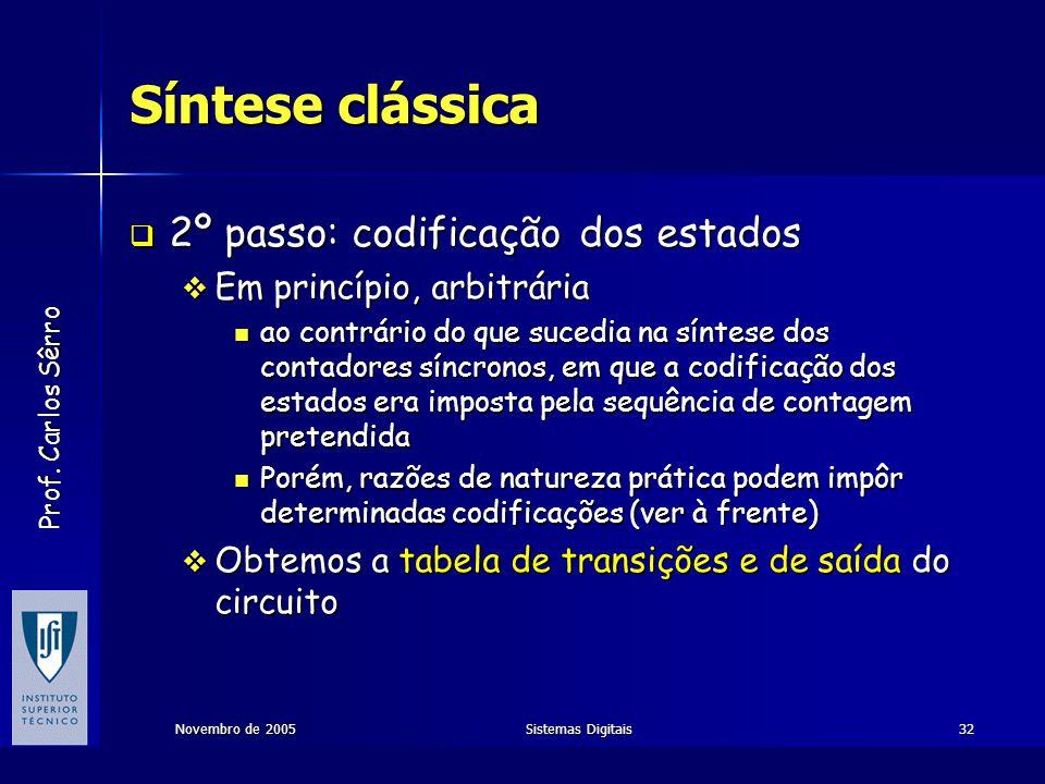 Síntese clássica 2º passo: codificação dos estados