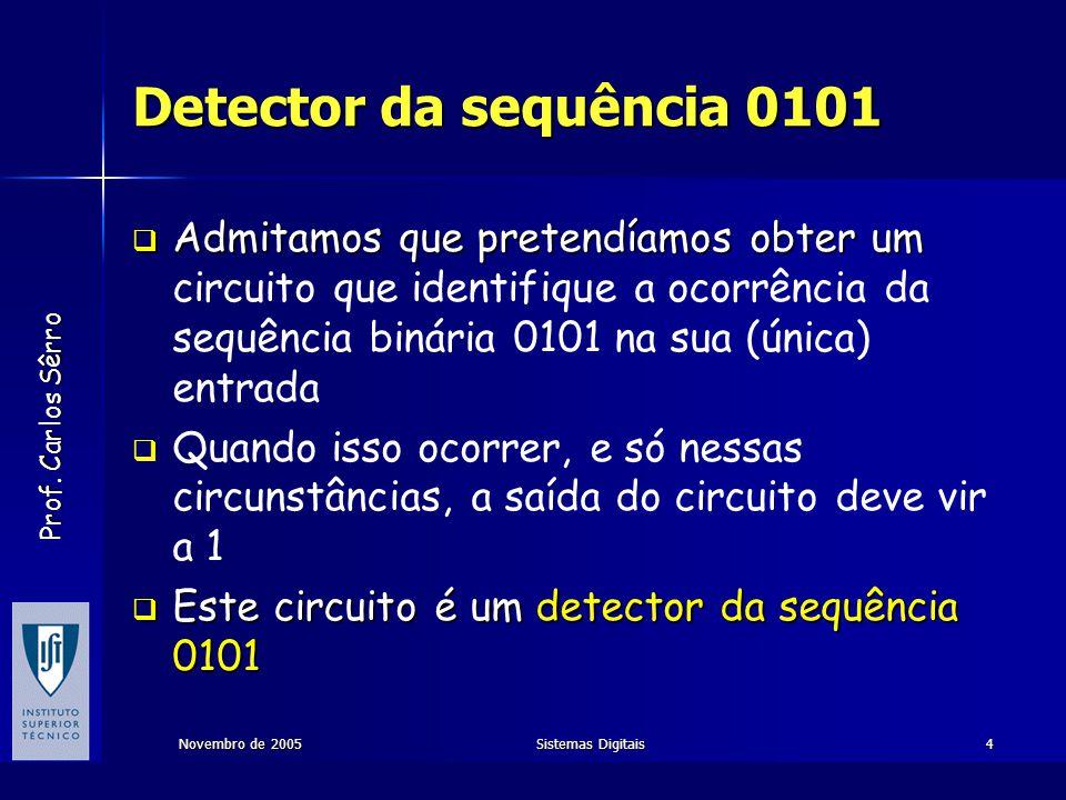 Detector da sequência 0101 Admitamos que pretendíamos obter um circuito que identifique a ocorrência da sequência binária 0101 na sua (única) entrada.