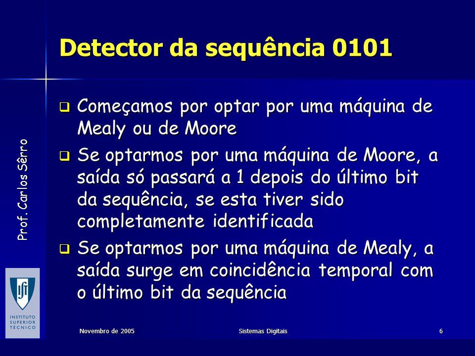 Detector da sequência 0101 Começamos por optar por uma máquina de Mealy ou de Moore.