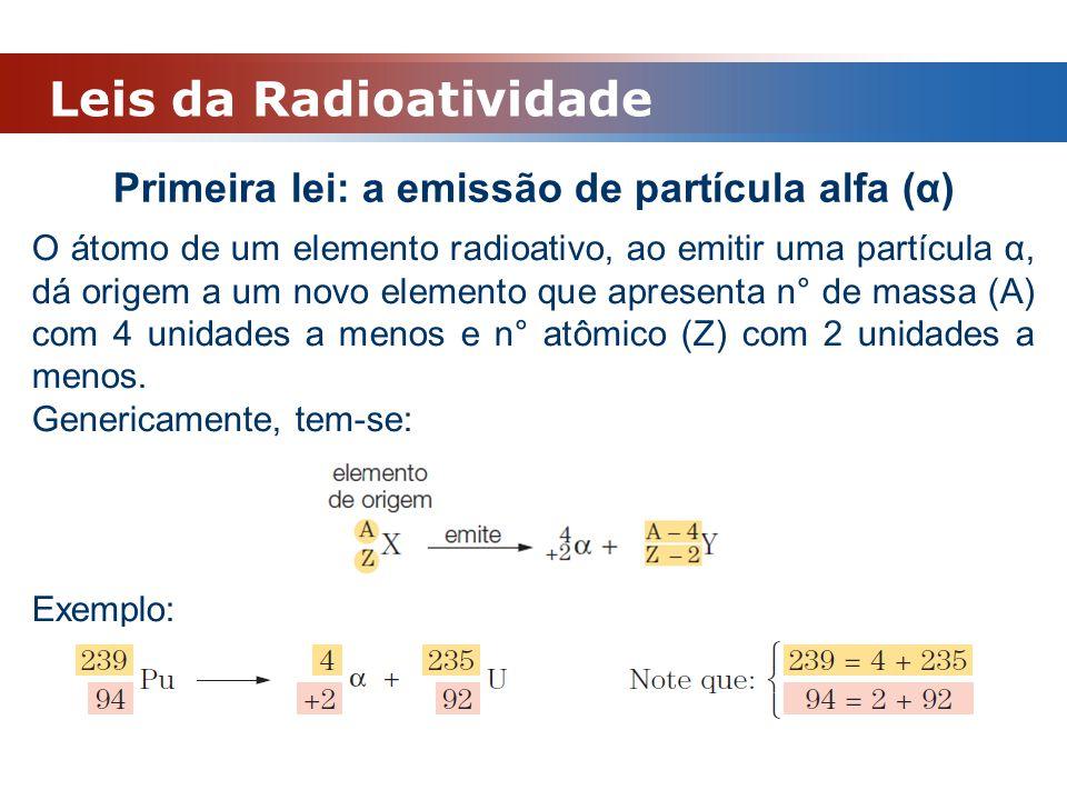 Primeira lei: a emissão de partícula alfa (α)