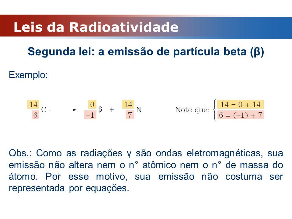 Segunda lei: a emissão de partícula beta (β)