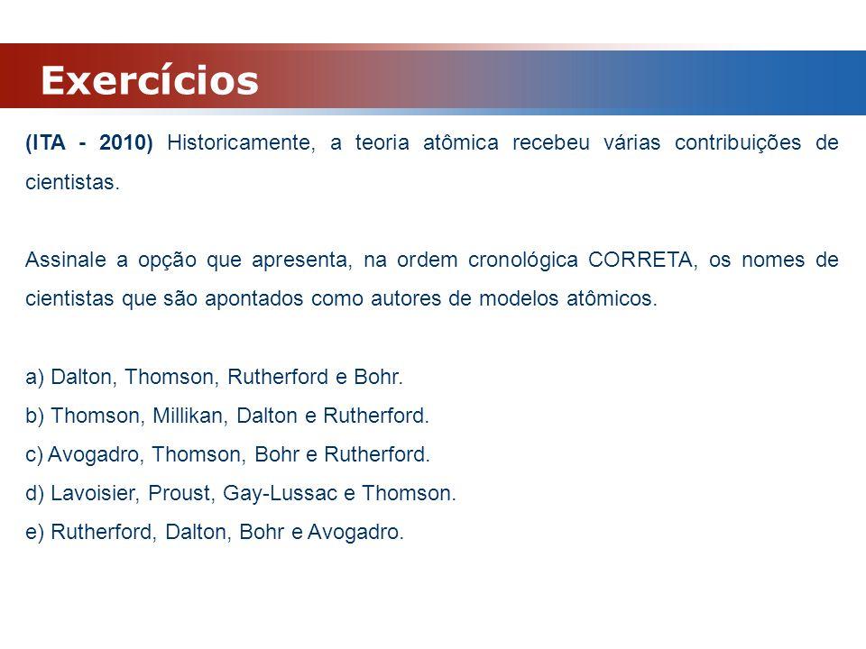 Exercícios (ITA - 2010) Historicamente, a teoria atômica recebeu várias contribuições de cientistas.