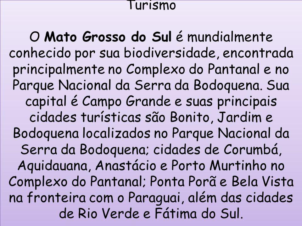 Turismo O Mato Grosso do Sul é mundialmente conhecido por sua biodiversidade, encontrada principalmente no Complexo do Pantanal e no Parque Nacional da Serra da Bodoquena.