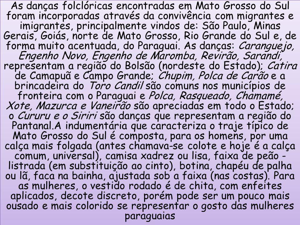 As danças folclóricas encontradas em Mato Grosso do Sul foram incorporadas através da convivência com migrantes e imigrantes, principalmente vindos de: São Paulo, Minas Gerais, Goiás, norte de Mato Grosso, Rio Grande do Sul e, de forma muito acentuada, do Paraguai. As danças: Caranguejo, Engenho Novo, Engenho de Maromba, Revirão, Sarandi, representam a região do Bolsão (nordeste do Estado); Catira de Camapuã e Campo Grande; Chupim, Polca de Carão e a brincadeira do Toro Candil são comuns nos municípios de fronteira com o Paraguai e Polca, Rasqueado, Chamamé, Xote, Mazurca e Vaneirão são apreciadas em todo o Estado; o Cururu e o Siriri são danças que representam a região do Pantanal.A indumentária que caracteriza o traje típico de Mato Grosso do Sul é composta, para os homens, por uma calça mais folgada (antes chamava-se colote e hoje é a calça comum, universal), camisa xadrez ou lisa, faixa de peão - listrada (em substituição ao cinto), botina, chapéu de palha ou lã, faca na bainha, ajustada sob a faixa (nas costas). Para as mulheres, o vestido rodado é de chita, com enfeites aplicados, decote discreto, porém pode ser um pouco mais ousado e mais colorido se representar o gosto das mulheres paraguaias