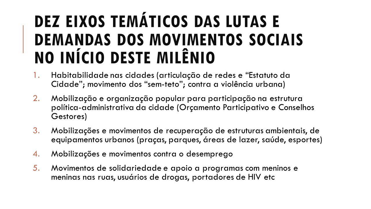 Dez eixos temáticos das lutas e demandas dos movimentos sociais no início deste milênio