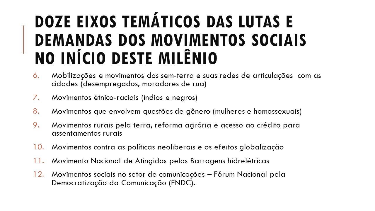 Doze eixos temáticos das lutas e demandas dos movimentos sociais no início deste milênio