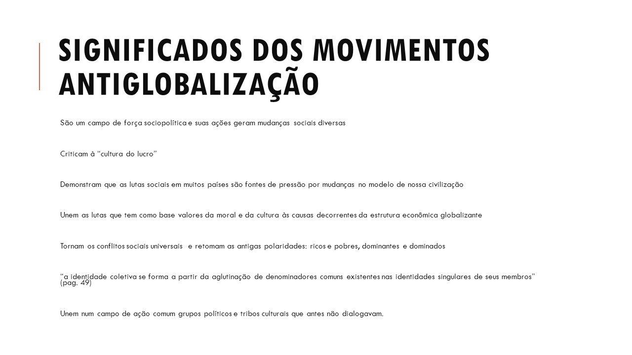 Significados dos movimentos antiglobalização