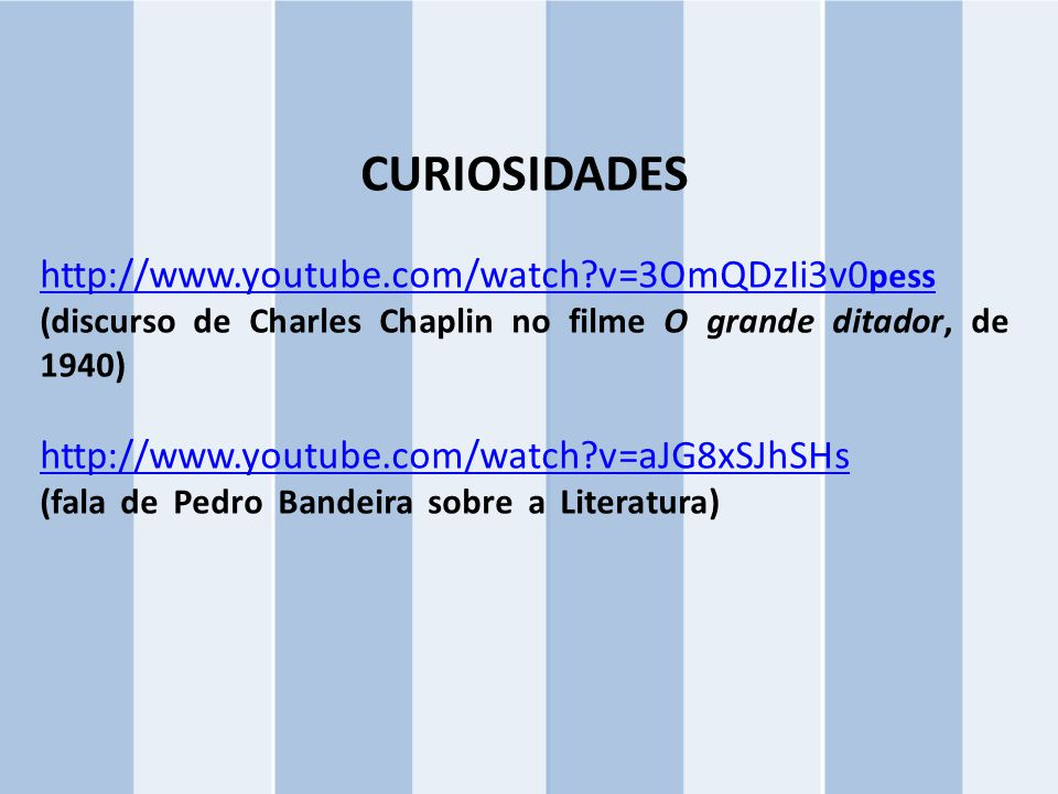 CURIOSIDADES http://www.youtube.com/watch v=3OmQDzIi3v0pess