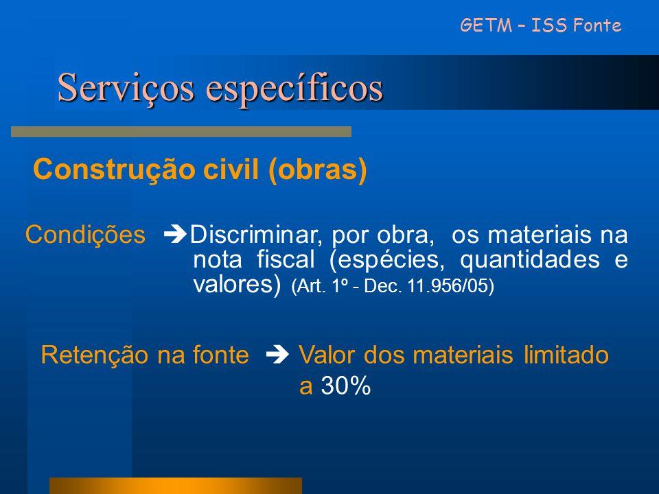 Serviços específicos Construção civil (obras)