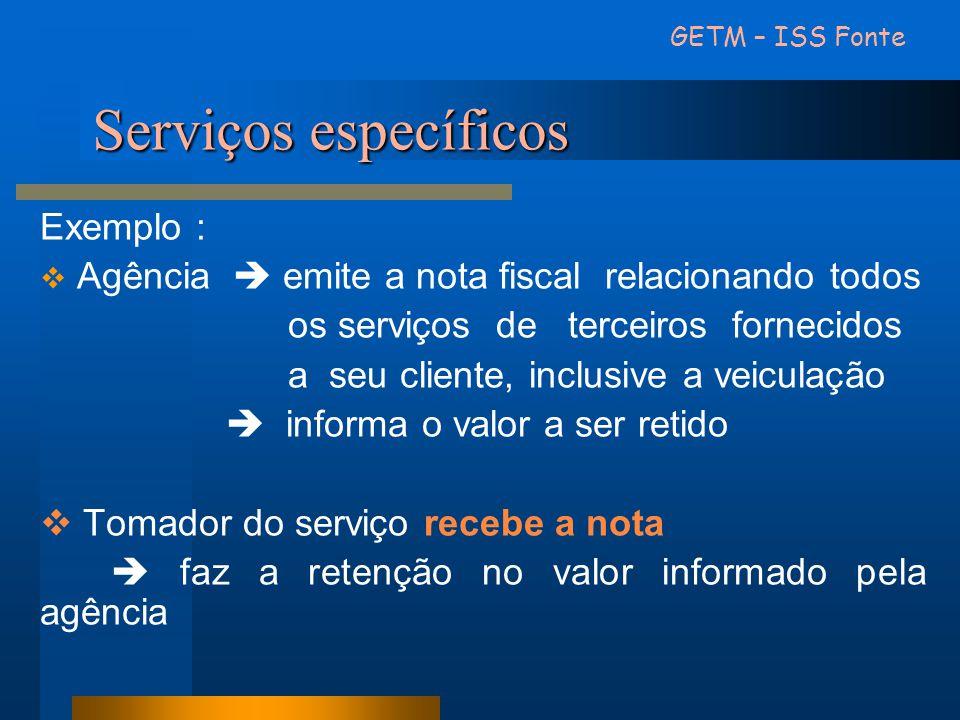 Serviços específicos Exemplo :