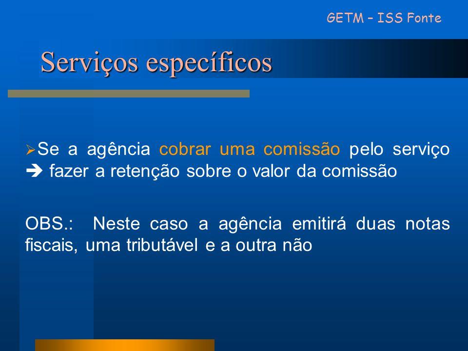 GETM – ISS Fonte Serviços específicos. Se a agência cobrar uma comissão pelo serviço  fazer a retenção sobre o valor da comissão.