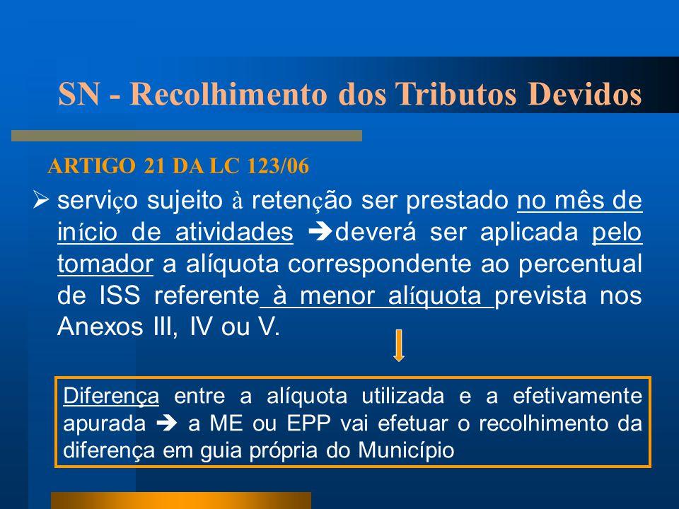 SN - Recolhimento dos Tributos Devidos