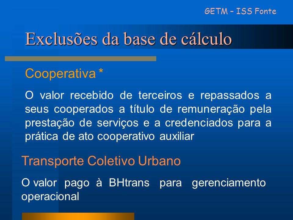 Exclusões da base de cálculo