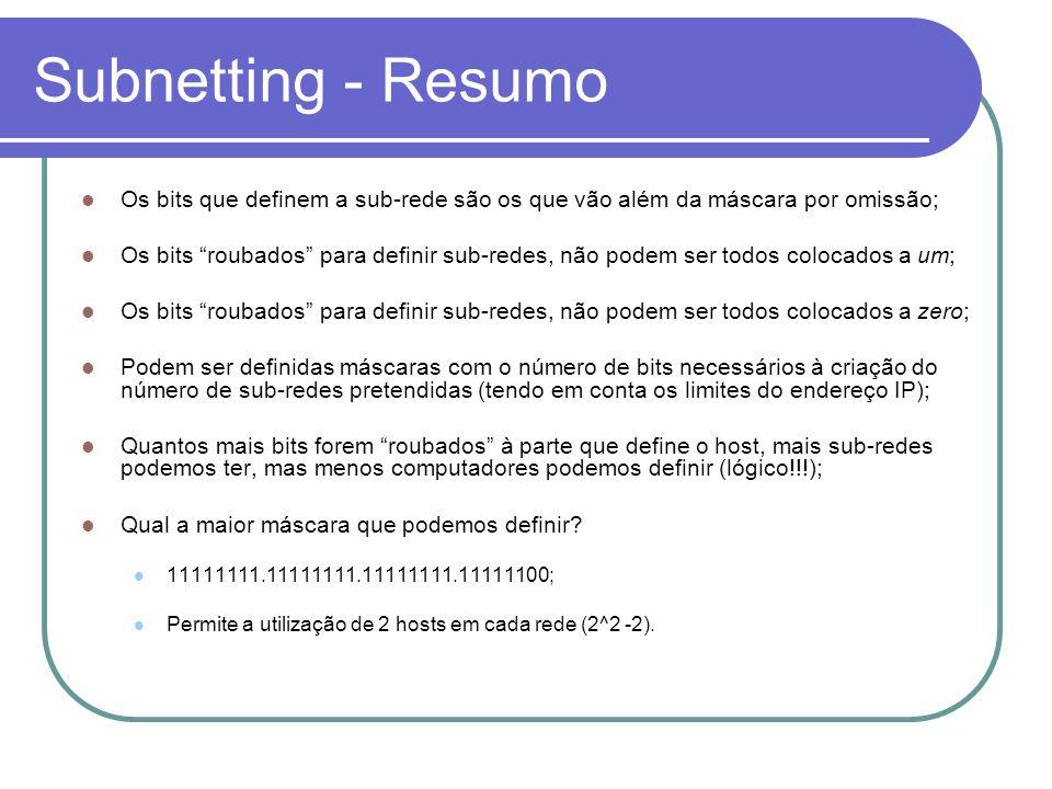 Subnetting - Resumo Os bits que definem a sub-rede são os que vão além da máscara por omissão;