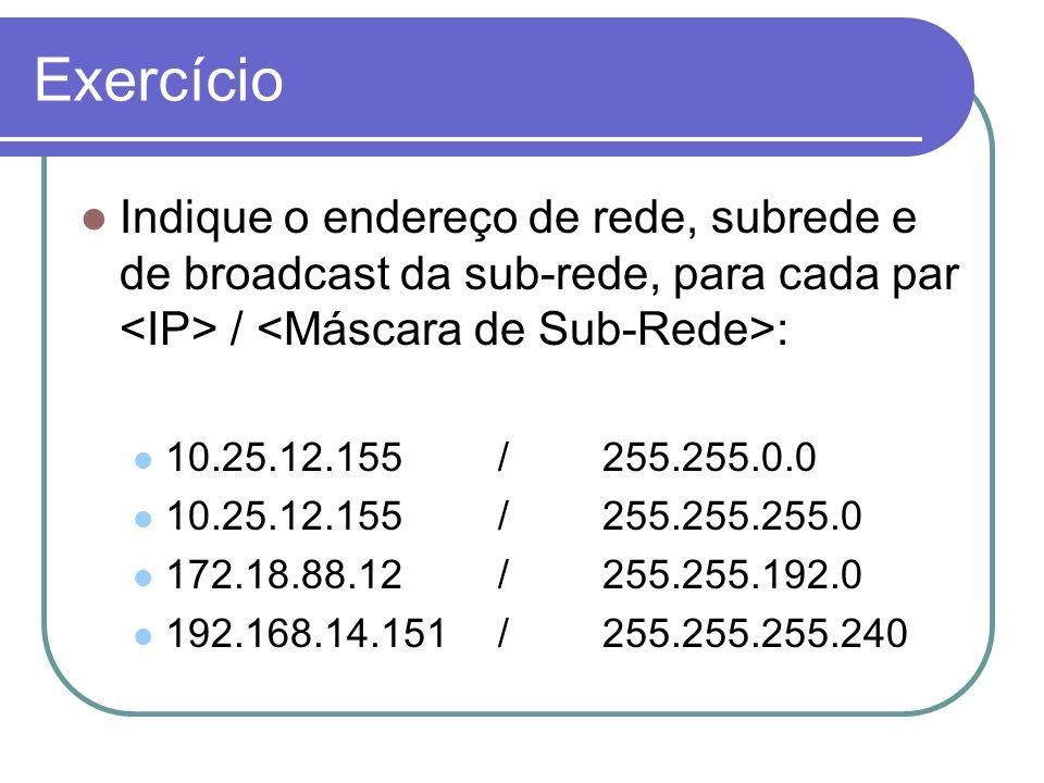 Exercício Indique o endereço de rede, subrede e de broadcast da sub-rede, para cada par <IP> / <Máscara de Sub-Rede>: