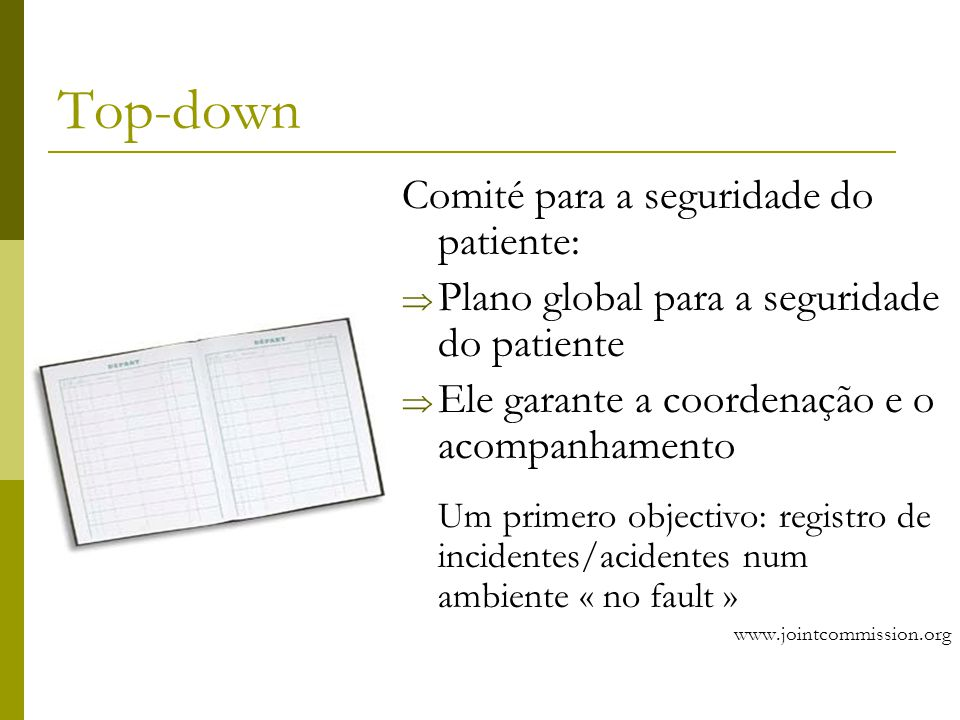 Top-down Comité para a seguridade do patiente: