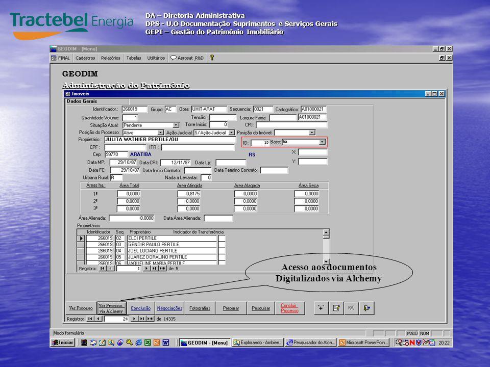 Acesso aos documentos Digitalizados via Alchemy