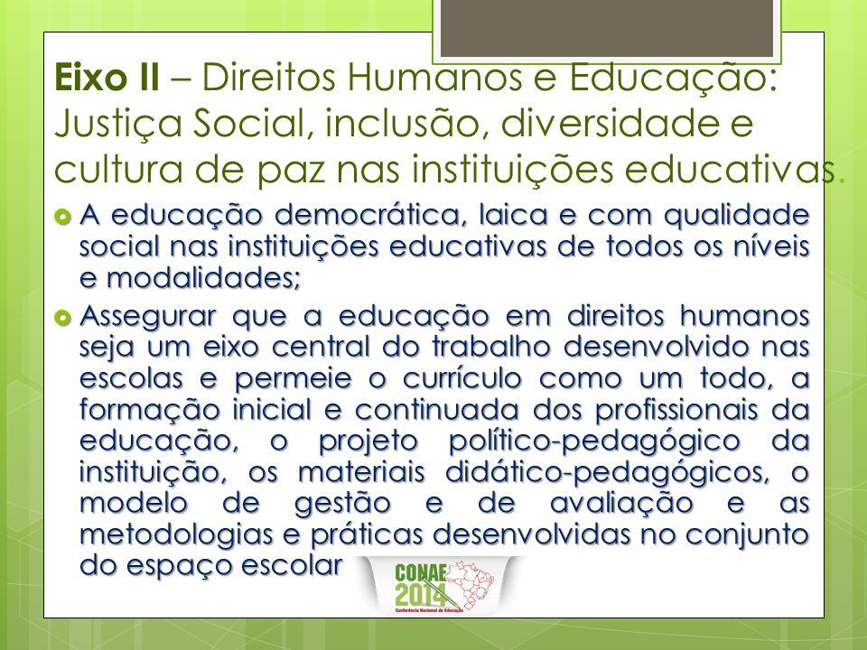 Eixo II – Direitos Humanos e Educação: Justiça Social, inclusão, diversidade e cultura de paz nas instituições educativas.