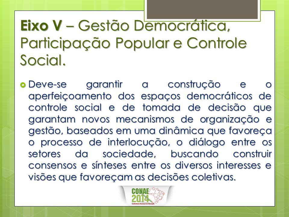 Eixo V – Gestão Democrática, Participação Popular e Controle Social.