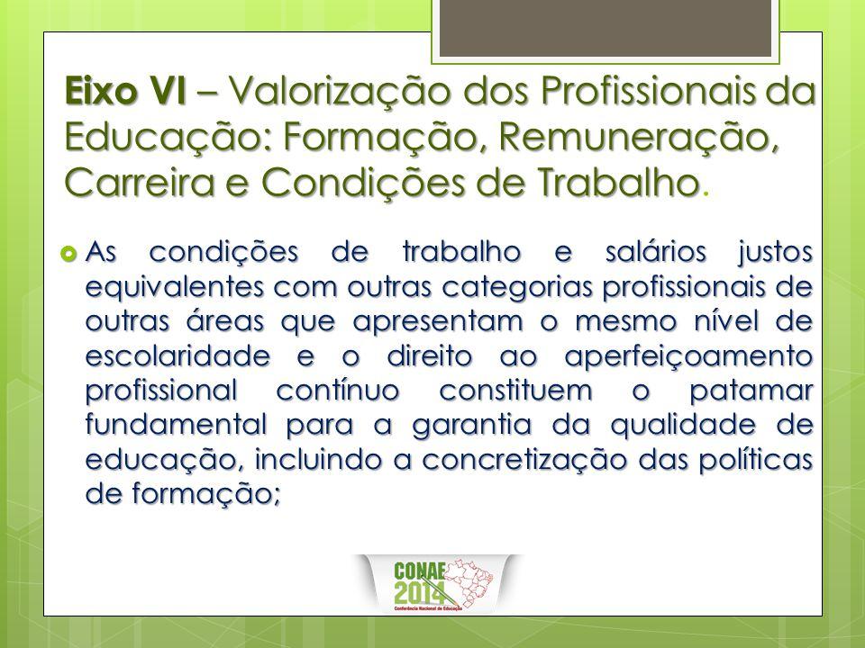 Eixo VI – Valorização dos Profissionais da Educação: Formação, Remuneração, Carreira e Condições de Trabalho.