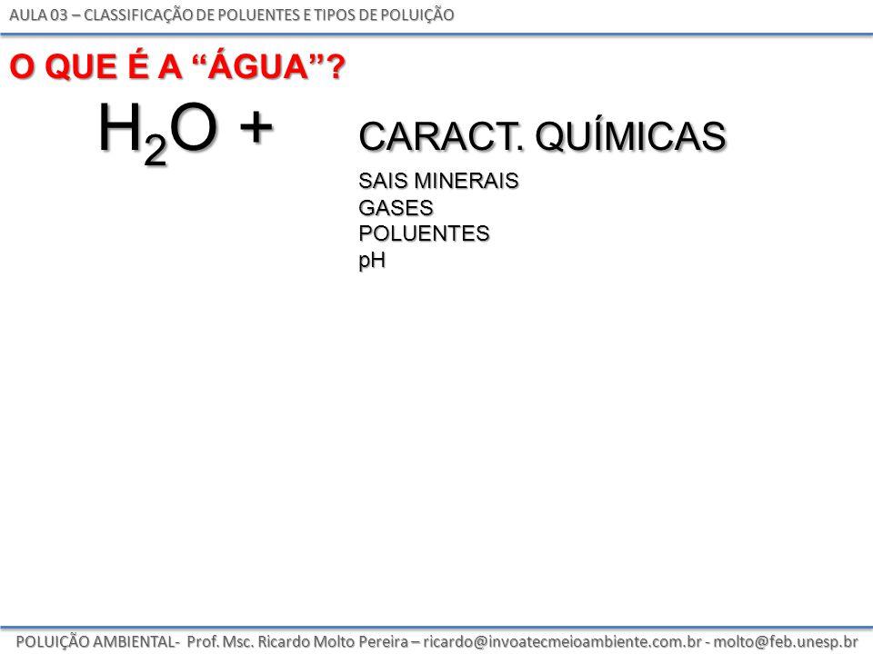 h2o + caract. químicas O que é a Água sais minerais gases poluentes