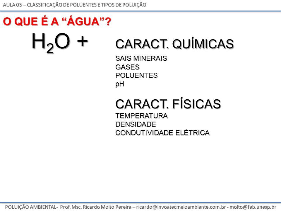 h2o + caract. químicas caract. Físicas O que é a Água sais minerais