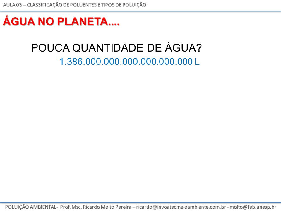 pouca quantidade de água 1.386.000.000.000.000.000.000 l