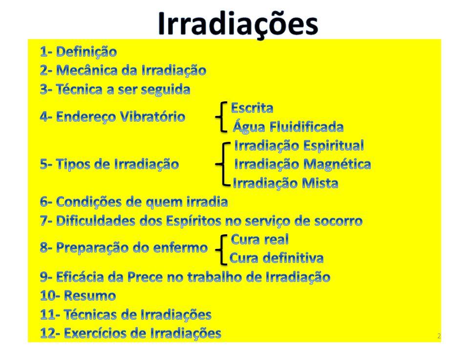 Irradiações 1- Definição 2- Mecânica da Irradiação