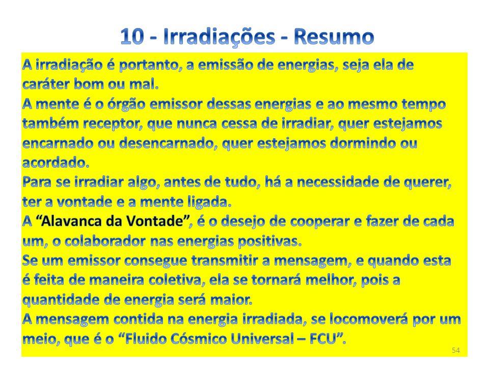 10 - Irradiações - Resumo A irradiação é portanto, a emissão de energias, seja ela de caráter bom ou mal.