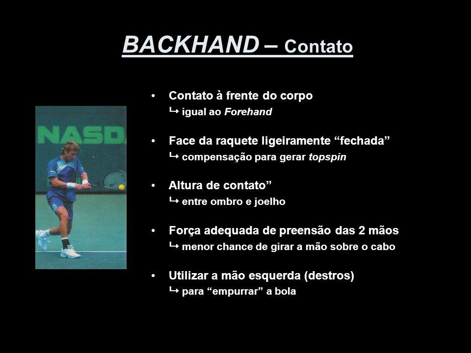 BACKHAND – Contato Contato à frente do corpo  igual ao Forehand
