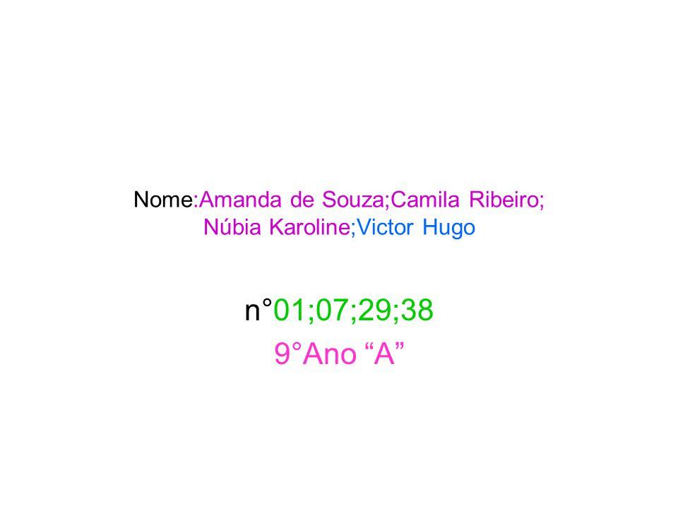 Nome:Amanda de Souza;Camila Ribeiro; Núbia Karoline;Victor Hugo