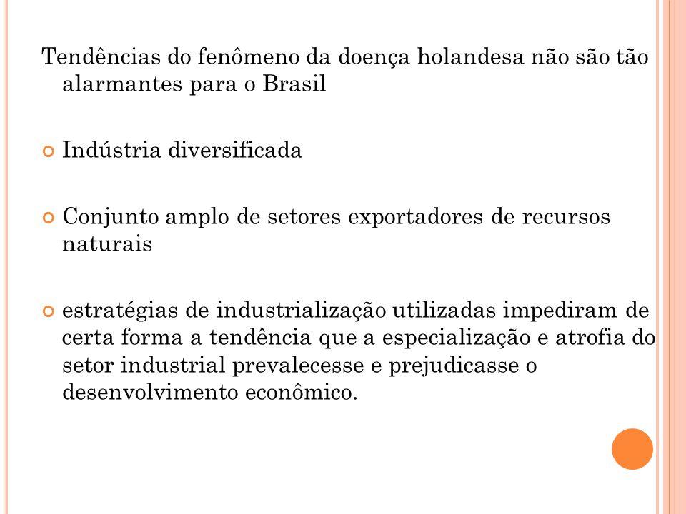 Tendências do fenômeno da doença holandesa não são tão alarmantes para o Brasil