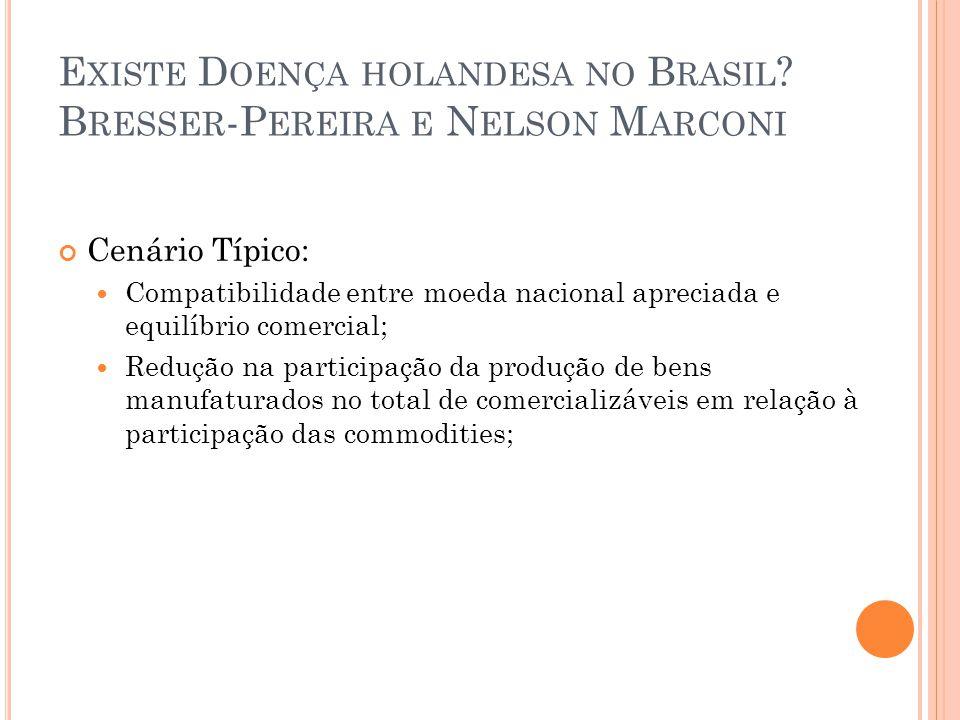 Existe Doença holandesa no Brasil Bresser-Pereira e Nelson Marconi