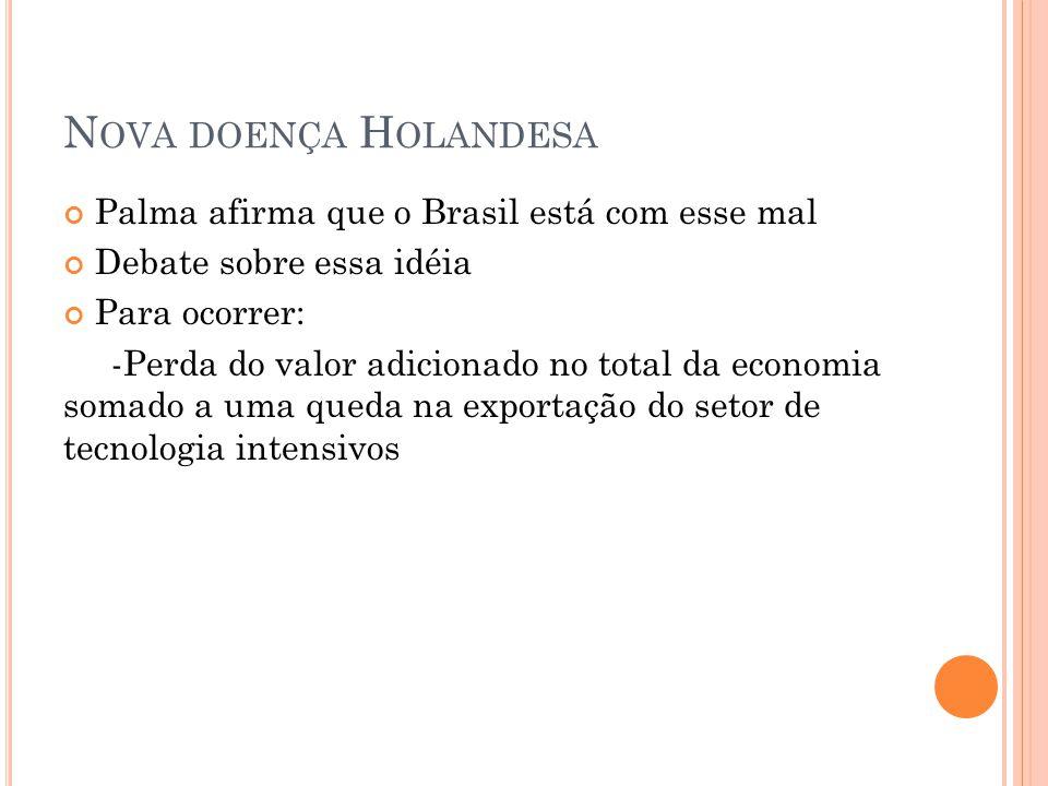 Nova doença Holandesa Palma afirma que o Brasil está com esse mal