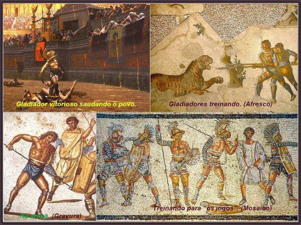 Gladiador vitorioso saudando o povo.