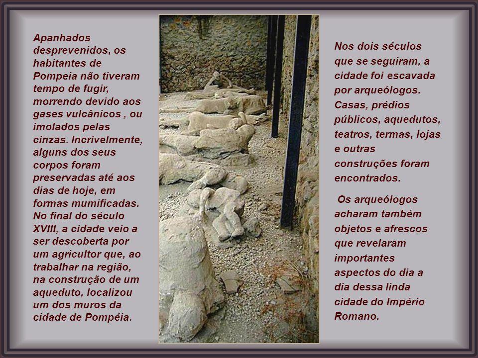 Apanhados desprevenidos, os habitantes de Pompeia não tiveram tempo de fugir, morrendo devido aos gases vulcânicos , ou imolados pelas cinzas. Incrivelmente, alguns dos seus corpos foram preservadas até aos dias de hoje, em formas mumificadas.