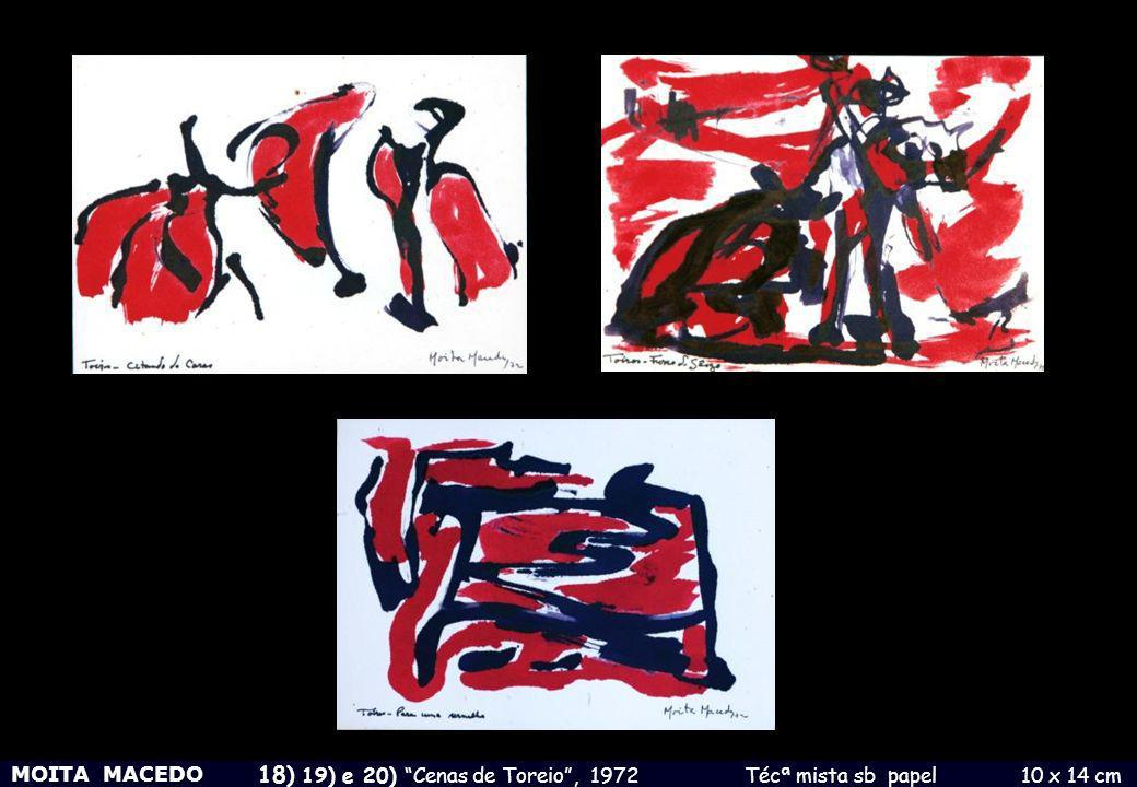 18) 19) e 20) Cenas de Toreio , 1972 Técª mista sb papel 10 x 14 cm