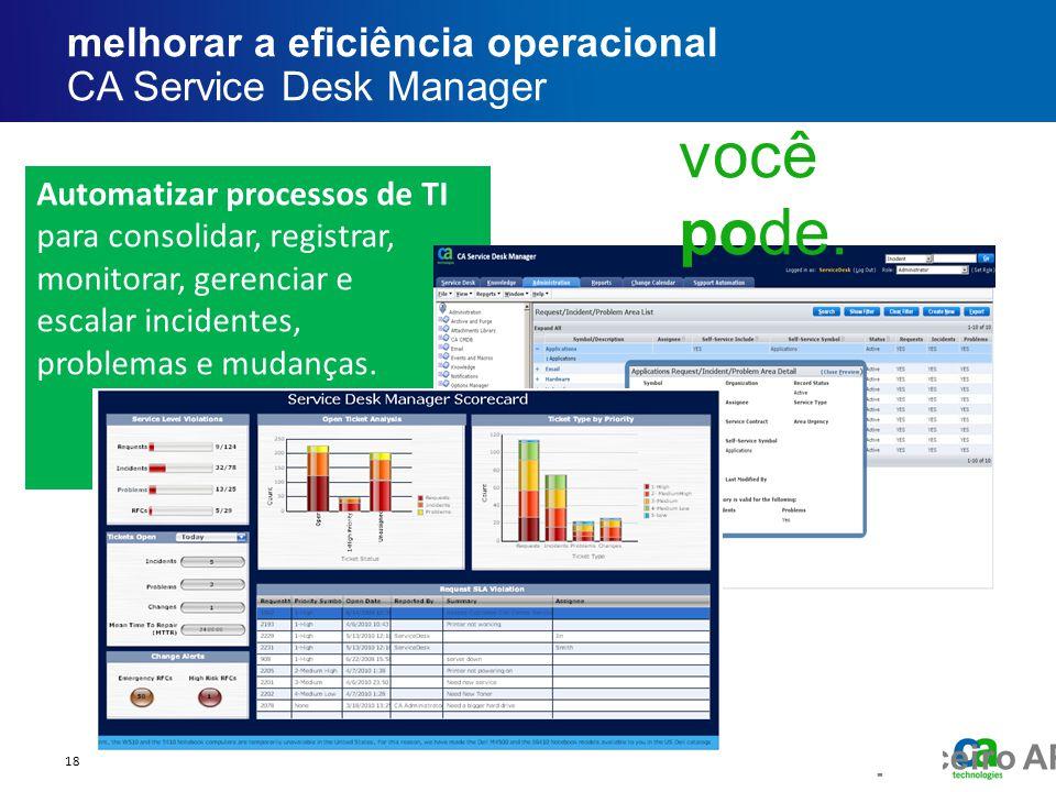 melhorar a eficiência operacional CA Service Desk Manager