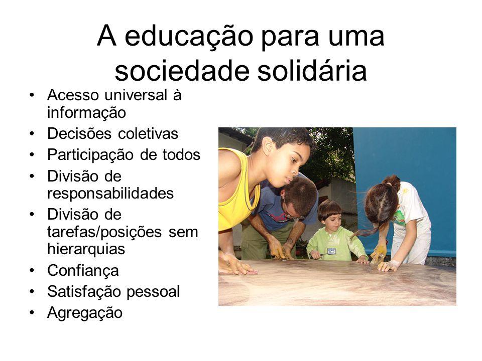 A educação para uma sociedade solidária