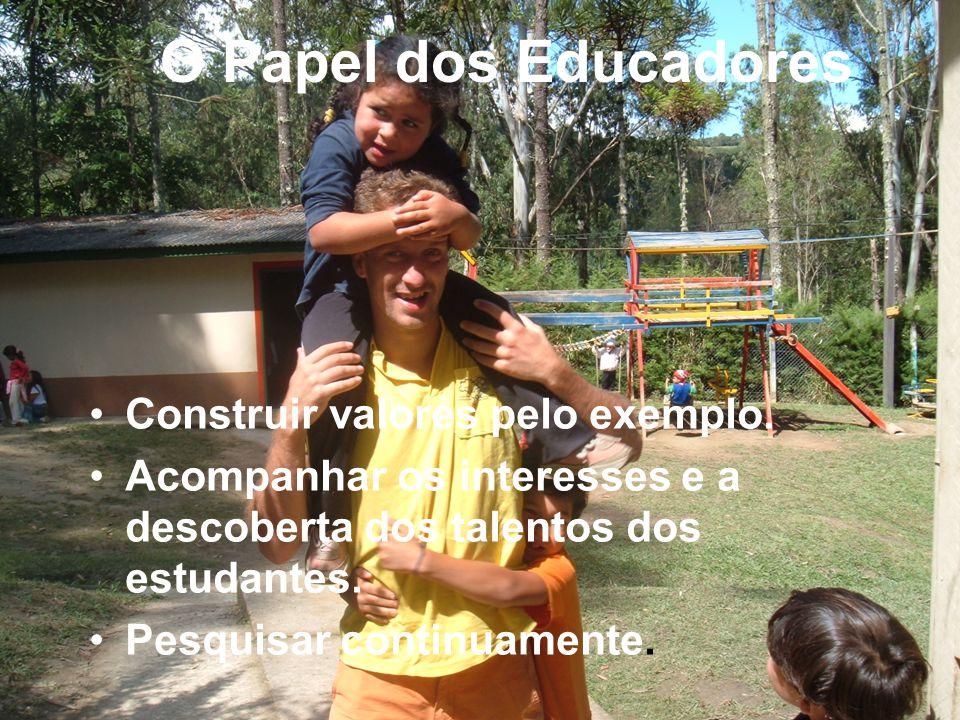 O Papel dos Educadores Construir valores pelo exemplo.