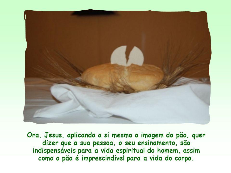 Ora, Jesus, aplicando a si mesmo a imagem do pão, quer dizer que a sua pessoa, o seu ensinamento, são indispensáveis para a vida espiritual do homem, assim como o pão é imprescindível para a vida do corpo.