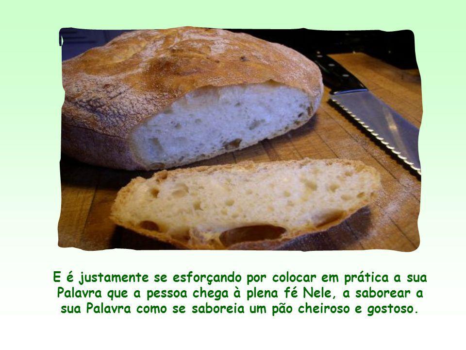 E é justamente se esforçando por colocar em prática a sua Palavra que a pessoa chega à plena fé Nele, a saborear a sua Palavra como se saboreia um pão cheiroso e gostoso.
